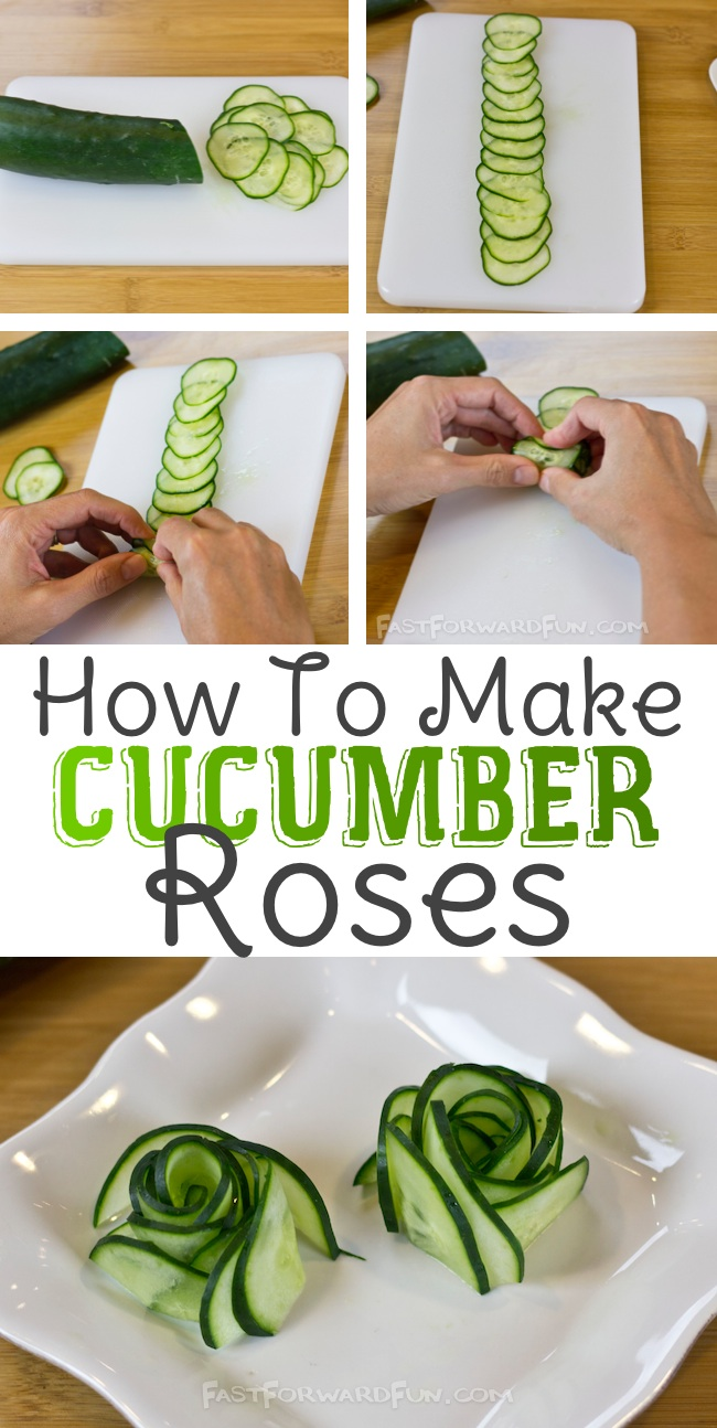 3 Super Fun and Easy Ways To Cut A Cucumber (awesome video tutorial) I LOVE these!!   Fast Forward Fun
