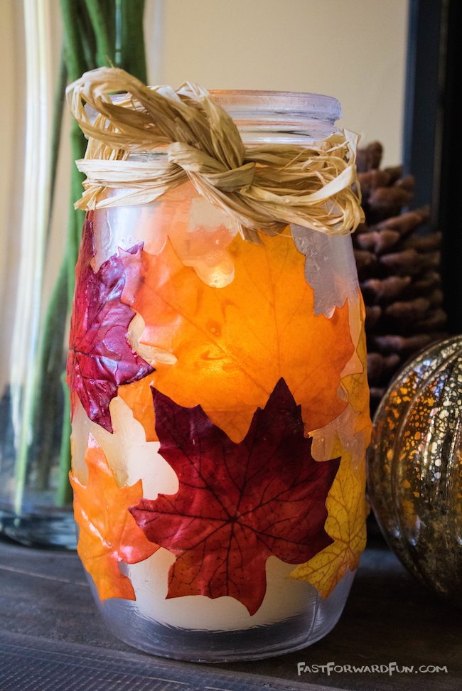 DIY Fall Leaf Candle Holder-- So easy and pretty! (lots of step-by-step photos and video tutorial). Fast Forward Fun