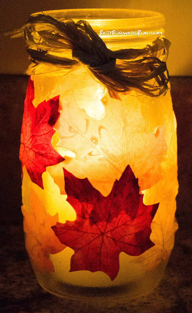 DIY Fall Leaf Candle Holder (fun video tutorial and step-by-step photos) Fast Forward Fun