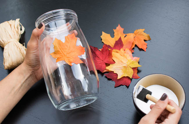 DIY Fall Leaf Candle Holder (video tutorial and lots of photos!) Fast Forward Fun