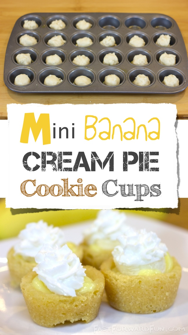 Easy, mini banana cream pies made in a muffin tin! {fun video tutorial!} ...and photo instructions. | Fast Forward Fun